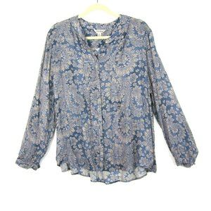 Lucky Brand Button Front Peasant Top Blue Beige XL